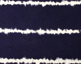 Navy Blue and White Tie Dye Stripe Rayon Spandex Jersey Knit Fabric, 1 Yard