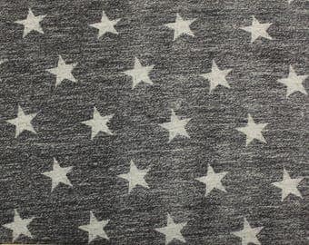 Charcoal and Grey Star French Terry Knit Sweatshirt Fabric, 1 Yard