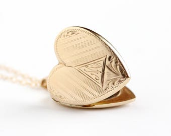 Vintage 10k Solid Rosy Yellow Gold Heart Locket Necklace - Monogrammed Letter M Dated 1942 Fine Romantic Photo Jewelry , Bill To Marie