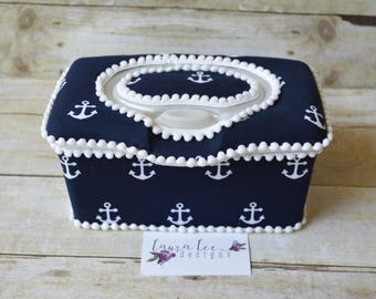 Anchors in White on Navy Flip Top Nursery Baby Wipe Case, You Choose Trim Color, Nautical Anchor Wipecase, Large Wipe Holder, Nappy Wipe Tub