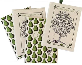 Partridge in a Pear Tree Christmas Card Set- Green -Ivory -Pear Scented-essential oil