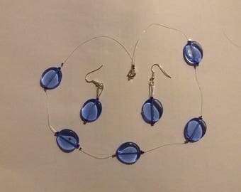 Blue beaded necklace and earring set