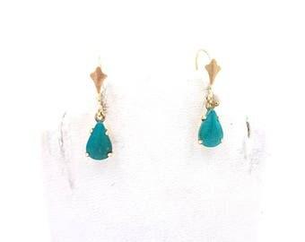 Vintage 14K Yellow Gold Teardrop Persian Turquoise Dangle Earrings - Antique 14k Yellow Gold Turquoise Drop Earrings Vintage earrings