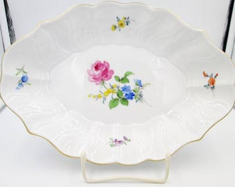 Antique Meissen Bowl - Antique Meissen Bowl With Qualifying Marks - 19th Century Meissen Floral Vegetable Bowl With Crossed Swords & Slashes