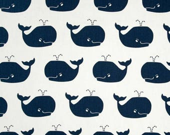 Whale change pad cover - navy nautical themed nursery decor