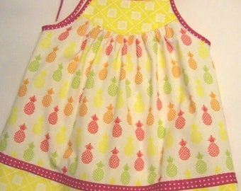 Little Girl's\Toddler Girl's Pineapple Sundress in White, Yellow, Pink and Green