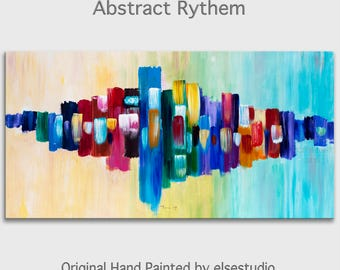 "Rythem, Original oil Painting Abstract Painting 48"" Canvas  art, free dynamic Brushwork, fresh eye-catching focal point"