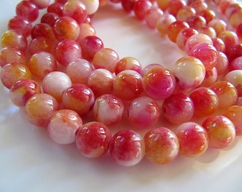 8mm Mountain JADE Beads in Red, Yellow, Pink and Cream, Dyed, Round, 1 Strand 16 Inches, Approx 50 Beads Gemstone Beads