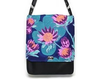 Messenger bag, vegan leather bag, cross body bag, womens messenger bag, satchel, every day bag, vegan purse, red and black, retro fabric