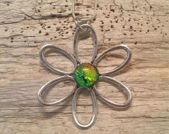 Jewelry, Daisy necklace, pendant, dichroic glass, fused glass, flower pendant, silver flower, dichroic glass jewerly, glass, glass jewelry