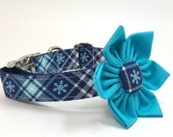 Handmade Dog Collar and Collar Flower Set - Blue Plaid Snowflakes - Custom Made Holiday Dog Collar with matching flower in Team Blue
