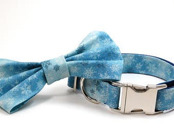 Handmade Dog Collar and Bow Tie Set - Sparkly Snowflakes - Custom Made Holiday Dog Collar with matching bowtie in Light blue and white snow