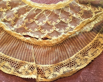 Ruffled Lace Trim Embroidered Net Antique Vintage Lot of 2 designs Victorian