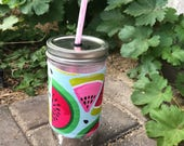Watermelon sleeve straw lid DIY mason jar tumbler