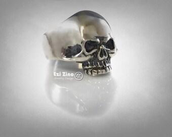 Skull BIKER OUTLAW Solid Sterling Silver 925 ezi zino