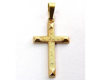 14K Yellow Gold Embossed Cross Pendant