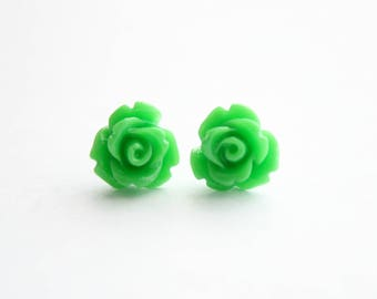 Grass Green Rosette Earrings with Stainless Steel Posts