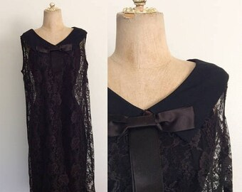 20% OFF 1960's Black Crepe Dress w/ Lace Overcoat Size XS Small by Maeberry Vintage