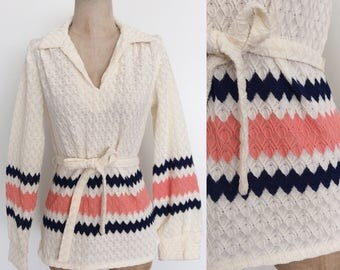 1970's Polyester Chevron Stripe Belted Top White Navy Blue & Pink Shirt Size Small Medium by Maeberry Vintage
