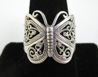 Large Sterling Silver Butterfly Ring w/ Colorless Stones - Vintage, Size 10 1/4