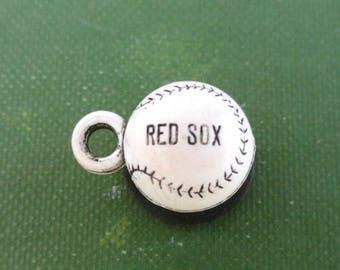 Boston Red Sox Baseball Charm - Vintage White & Black Baseball