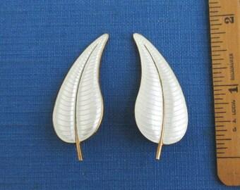 Volmer Bahner Denmark Guilloche Enamel Leaf Earrings - Vintage Gold over Sterling Silver