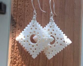 Carved Stone Earrings