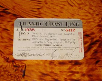1935 Atlantic Coast Line Railroad Pass