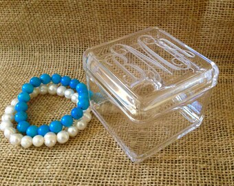 Petite Engraved Jewelry Box - Clear Acrylic Monogram Box