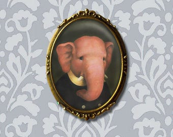 Elepnant Pin, Elephant Portrait, Elephant Brooch, Elephant Portrait, Elephant Lover Gift, Animal Brooch,