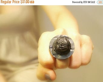 CIJ SALE Black Vintage Button Ring, Adjustable Charcoal Gray Button, Upcycled Retro Ring