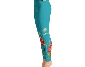 Flowers on Turquoise Yoga Leggings
