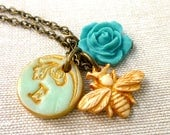 Honey Bee Necklace - Personalized with your initial