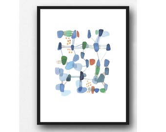 Abstract painting, Original Watercolor Painting Blue Green, Original Abstract Painting on Paper