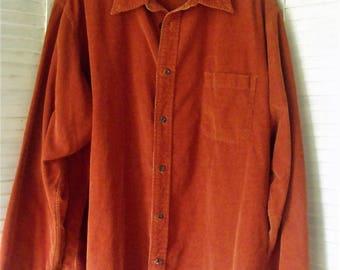 2X Vintage 21-Wale Corduroy Shirt/ Plus Size Orange Cotton Corduroy/ Extra Size Retro Shirt/ Shabbyfab Thrift