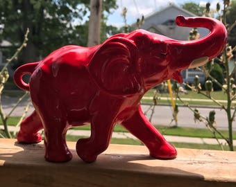 Lego Japan Bright Red Ceramic Elephant Trunk Up Good Luck MCM