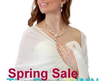 Summer Sale Chiffon Shawl, Ivory Chiffon Bridal Wrap, Wedding Stole - Ivory 7139CH
