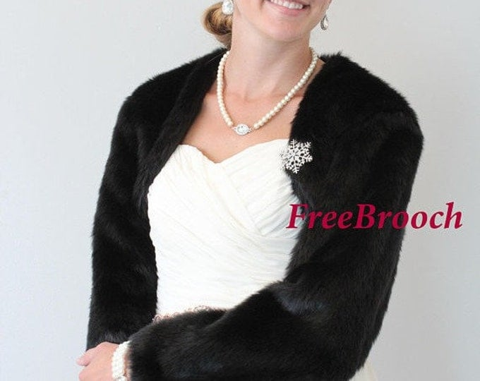 Easter Sale Bridal faux fur jacket, Wedding fur jacket, Bridal wrap stole, Bridal cape #890F-WHI (Black / White)