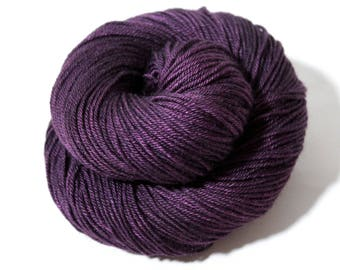 Hand dyed yarn 'Plum' merino silk yak yarn, 232 yards, dk weight yarn