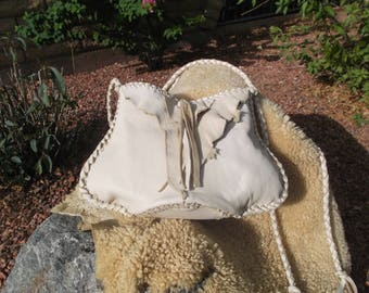 Hand Laced Ivory Deerskin fully lied in Brown Leather Raunch Mama Blop Bag Purse Tribal Hippie Shoulder Crossbody