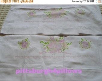 CHRISTMAS IN JULY Diy -1 Set  Stamped Embroidery ( Flowers ) Pillow Cases - 31 x 20 - Muslin - Read Description