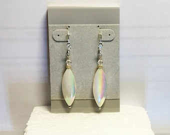 Leverback Earrings Mother-of-Pearl Long Flat Ovals White AB Gold Daisy Spacers Clear Swarovski Crystal Bicones Sterling Silver Leverbacks