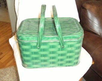 Vintage Green Metal Picnic Basket with Handles