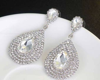 Wedding Bridal Earrings, Double-tier Rhinestone Teardrop Drop Earrings Jewelry