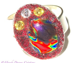 Oval cabochon ring with red dichroic glass, multicolor changing, rhinestones crystal and red sequins, handmade, unique piece
