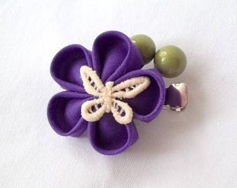 Cute Purple Hair Flower with Butterfly and Green Berries Tsumami Kanzashi