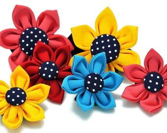 Dog Collar Flower: Navy & White Polka Dots