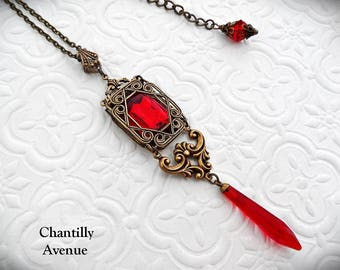 Ruby Art Deco Necklace, Red Jewel Necklace, Victorian Necklace Gothic Necklace, Victorian Jewelry - Art Deco Jewelry