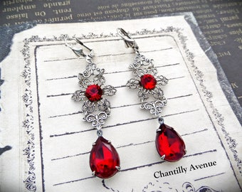 Ruby Victorian Earrings, Red Rhinestone Earrings, Jewel Earrings, Victorian Jewelry