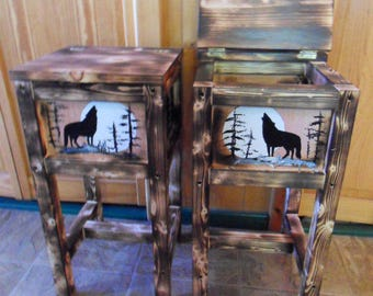 Set of 2 rustic endtables, nightstands, solid wood, handmade and handpainted with a wolf